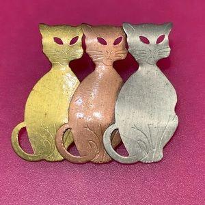 CAT PIN BROOCH 3 TONE